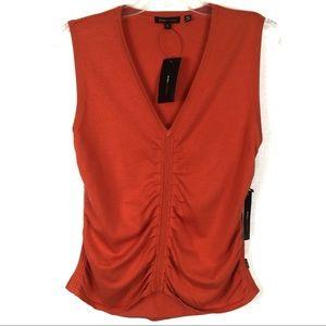BCBGMaxAzria Burnt Orange Sweater Vest Ruched Sz L
